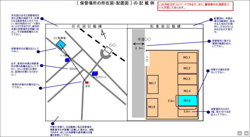 車庫証明 所在図・配置図
